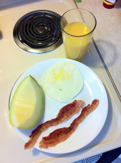 bacon egg cantaloupe orange juice