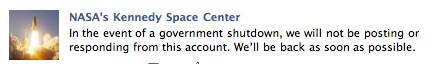 NASA Kennedy Space Center In the event of a government shutdown, we will not be posting or responding from this account. Well be back as soon as possible