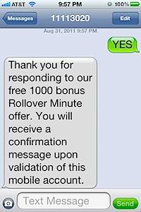1,000 FREE rollover minutes