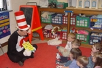 Cat in the hat in a classroom