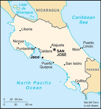 Map Of Costa Rica Jaco
